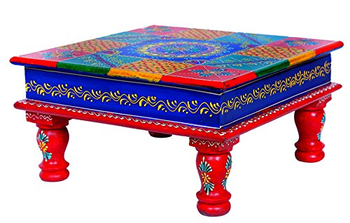 Rm Handcrafted Multicoloured Square Wooden Chowki Handmade For Home