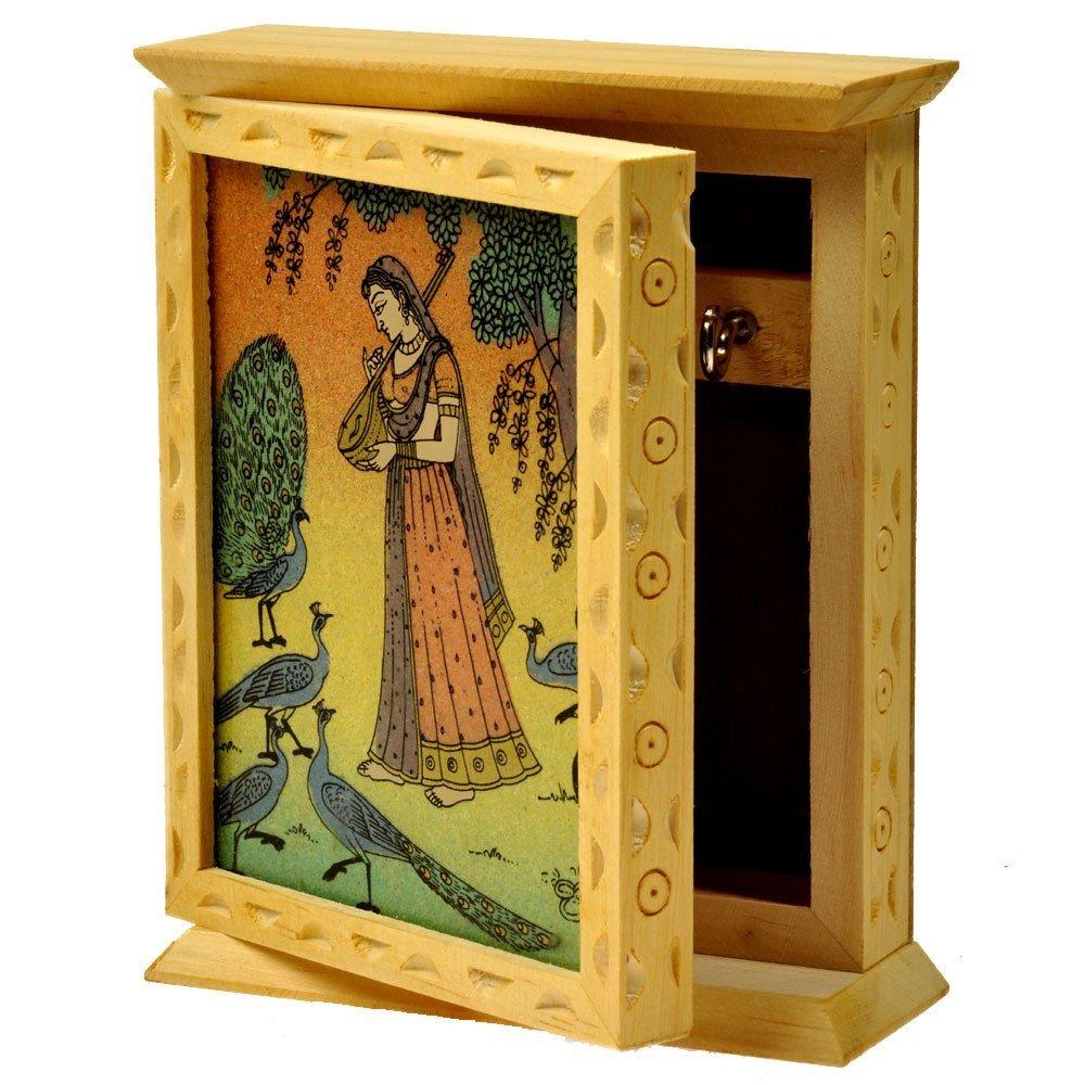 RM Rajasthani Gemstone Painting Wood Key Holder Box (Brown) – R Marbles