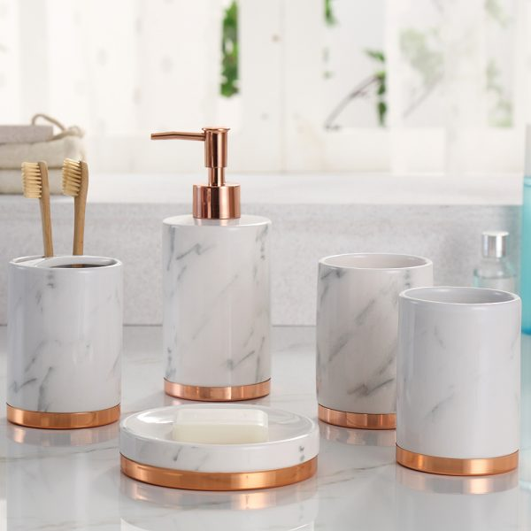 Rm 5 Piece Marble Pattern Bathroom Sets